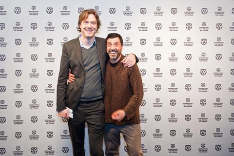 Festival director Rutger Wolfson with Davide Manuli, director of The Legend of Kaspar Hauser